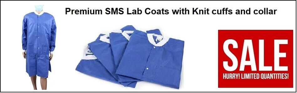 Premium SMS Lab Coats with Knit cuffs and collar