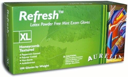 Refresh Peppermint Latex Powder Free Gloves (Aurelia)