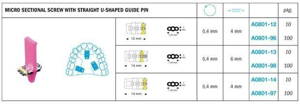 Expansion Micro Sectional Screw With Straight U-Shaped Guide Pin - Leone