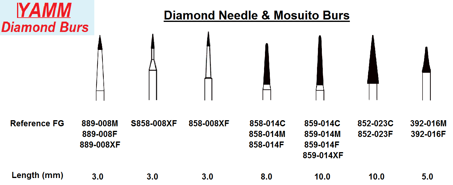 Diamond Burs - Needle & Mosquito (Yamm)