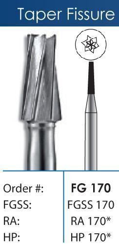 FG Tapered Fissure Short Shank Carbide Burs