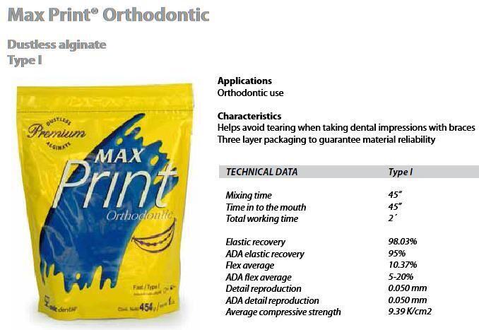 Max Print Dustless Orthodontic Alginate