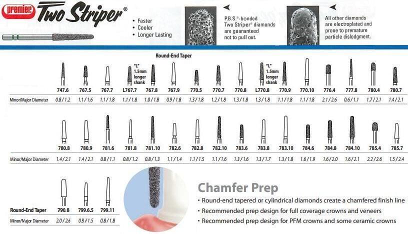 Two Striper Diamond Burs - Round End Taper - Chamfer Prep - Premier