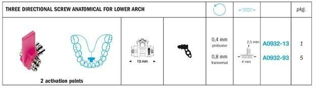 Special Purpose Expansion Three Directional Screw Anatomical For Lower Arch - Leone