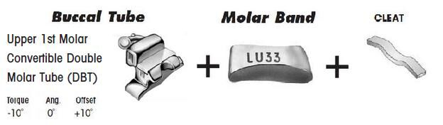 1st Molar Bands Assembly with Upper DBT Buccal Tube and Cleat