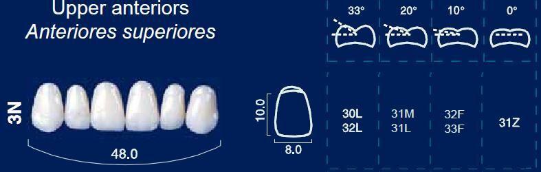 Upper Anterior Acrylic Resin Teeth #3N - NewTek