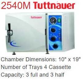 Tuttnauer Autoclave/Sterilizer - Tuttnauer 2540M