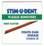 Stim-U-Dent Removes plaque and fights gum disease (Johnson & Johnson)