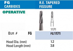 NeoBur FG Round End Tapered Fissure Carbide Burs - Microcopy