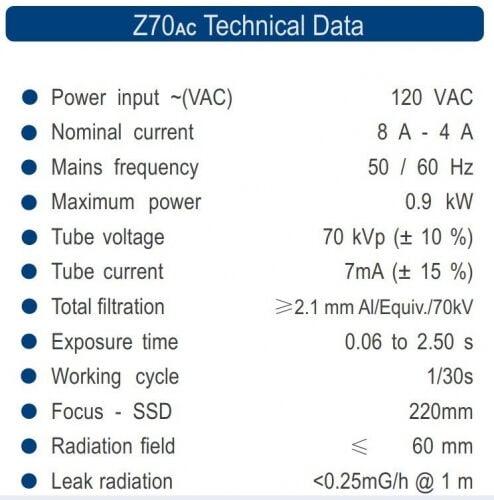 XZeal Z70Ac Technical Data