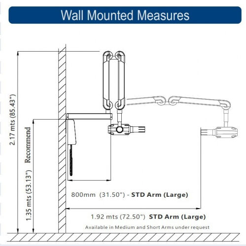 XZeal Z70Ac wall mounted Measures